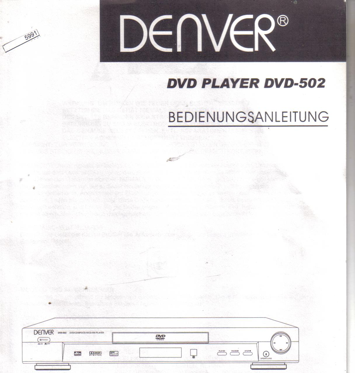 Denver  DVD Player DVD-502 Bedienungsanleitung